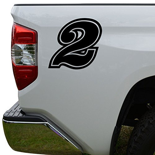 (Racing Race Number 2 Two Style 15 Die Cut Vinyl Decal Sticker For Go Kart Car Truck Motorcycle Window Bumper Wall Decor Size- [3 inch/8 cm] Tall Color- Matte Black)