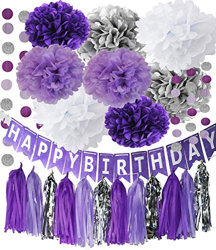 Purple Silver Party Decorations Tissue Pom Pom Happy Birthday Banner Purple Silver Circle Paper Garland for Birthday Party Decorations/Purple Silver First Birthday Party Supplies