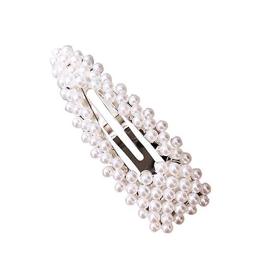 Women Girls Barrettes Hair Clip Crystal Elegant Pearl Hairpin Barrette Headwear
