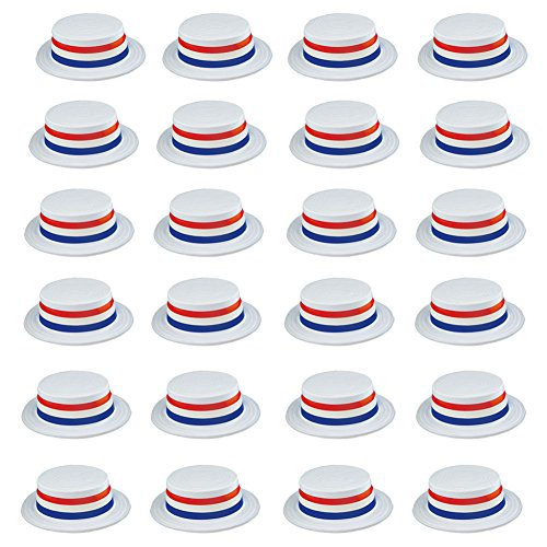 USA Fourth of July Hat - Patriotic Skimmer Hats 24 Pack by Funny Party Hats (Good Funny Halloween Costumes)