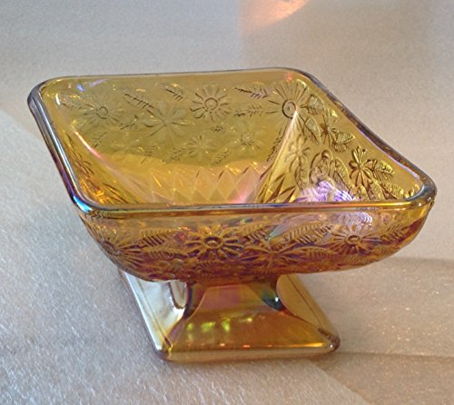 Vintage Indiana Amber Carnival Glass, Iridescent, Footed Candy Dish, Diamond Shaped