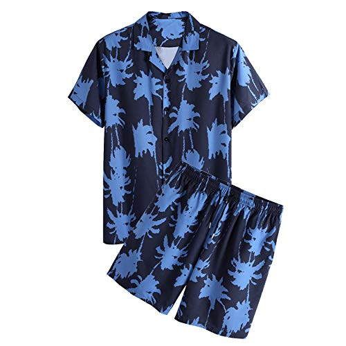 BEIJIN Herren Summer Beach Palm Casual Kurzarm Shorts Set (Blue-2,XXL)
