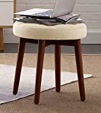 Elle Decor Penelope Round Tufted Stool - Antique Ivory