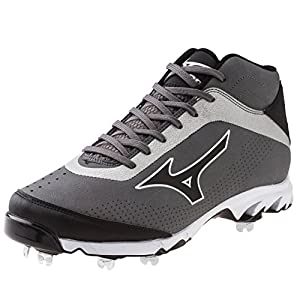 Mizuno Men's Vapor Elite 7 Mid Baseball Cleat,Grey/Black,13 M US