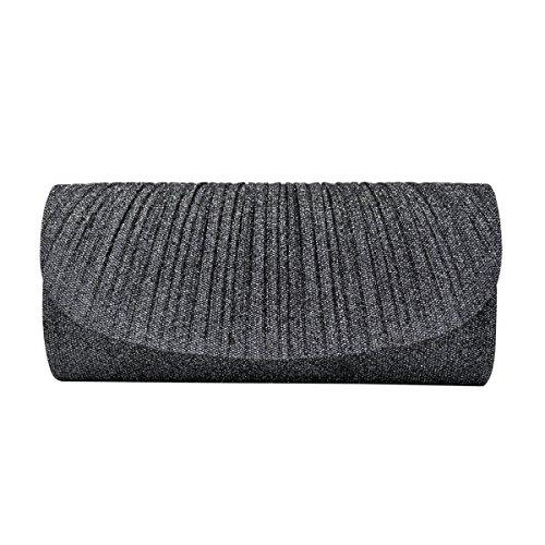 Premium Pleated Metallic Glitter Flap Clutch Evening Bag Handbag, Grey