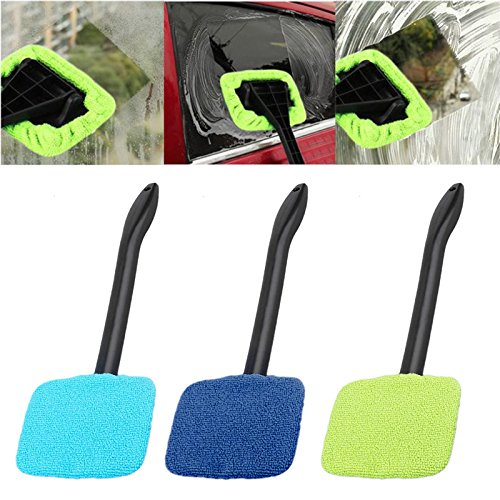 Windshield Cleaner with Microfiber Cloth,Car Windshield Cleaner Brush Auto Window Glass Cleaning Brush Tools
