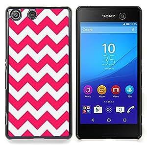 For Sony Xperia M5 E5603 E5606 E5653 Case , Líneas rosadas Modelo blanco de verano - Diseño Patrón Teléfono Caso Cubierta Case Bumper Duro Protección Case Cover Funda