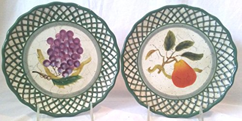 Decorative Raymond Waites Cornucopia Plates, Set of 2 Fruit Themed Plates, Pear Plate, Grapes Plate 8-1/4