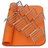 taco oven - 2 Taco Holders Rack Silicone Mat by AT - Best Stainless Steel Taco Rack Tray - Grill, Oven and Dishwasher Safe Taco Shell Stand - Silicone Nonstick Baking Orange Mat - Exclusive Taco Recipes e-Book