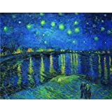 high quality polyster Canvas ,the Best Price Art Decorative Prints on Canvas of oil painting 'Starry Night over the Rhone, c.1888', 20x26 inch / 51x66 cm is best for Gym artwork and Home decor and Gifts