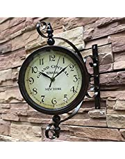 Outdoor Double Sided Wall Clock, Outdoor Double Sided Clock Waterproof for Patio Garage Outdoor Area Antique Look Train Station Clock Two Sided Clock for Indoors Outdoors