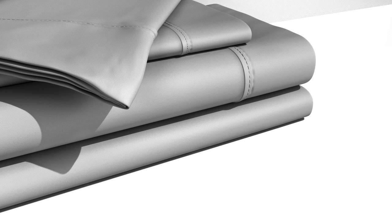 SGI bedding Queen Sheets Set - 1000 Thread Count - Luxury Soft 100% Cotton Bed Sheet 1000 Thread Count Light Grey Solid