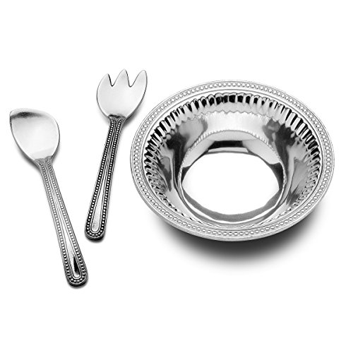 - Wilton Armetale Flutes and Pearls Medium 3-Piece Salad Serving Set, 3-Quart