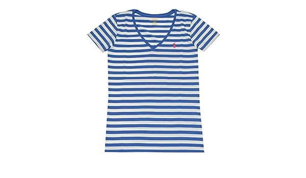 Ralph Lauren Mujer Cuello De Pico Camiseta De Algodón), diseño de rayas: Amazon.es: Ropa y accesorios