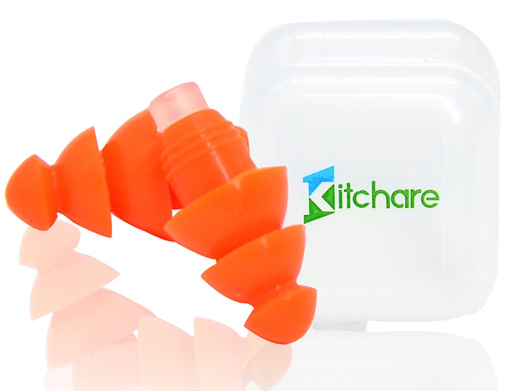 Kitchare Ear Plugs Hearing Protection for Professional Musicians,Sleeping,Shooting,Traveling,Motorcycles and Keychain Case,Yellow,Orange,Blue,Green Earplugs Reusable Soft Hypoallergenic Silicone