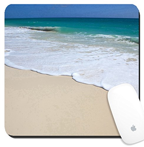 Luxlady Suqare Mousepad 8x8 Inch Mouse Pads/Mat design IMAGE ID: 34369501 Clean beach Caribbean Sea Playa los Cocos Cayo Largo - Playa Funny Quotes