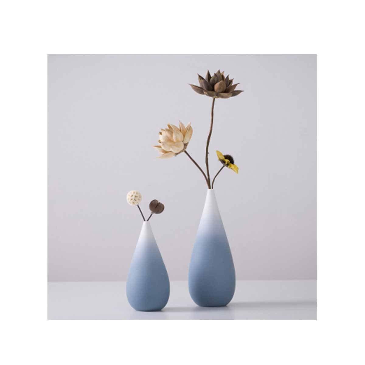 花瓶、ホームデコレーションセラミック花瓶、リビングルームオフィス北欧スタイルモダンミニマリスト新鮮な、ブルーキャリング花 (Color : Blue 1) B07RRXL8FN Blue 1