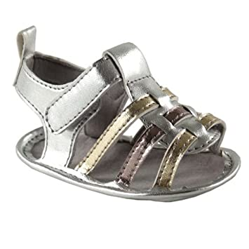 c65ed10419a Luvable Friends Baby Girls Metallic Casual Gladiator Sandals Non Slip Baby  Booties Shoes (0-6 Months