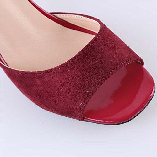 Lalang Damen Perle Verschluss Stilettos Sandalen Womens High Heels Schuh Rote