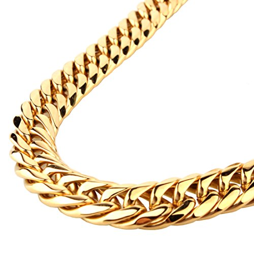 13/16mm Gold Plated Rombo Double Curb Cuban Link Mens Chain 316L Stainless Steel Necklace Bracelet 7