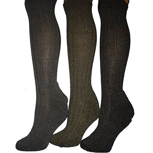 3 pairs mens wool blend long boot socks.padded sole.