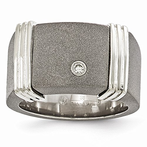 ICE CARATS Edward Mirell Titanium Argentium 925 Sterling Silver .06ct Diamond Signet Band Ring Size 11.00 Wedding Man Fine Jewelry Ideal Mothers Day Gifts For Mom Women Gift Set From (0.06 Ct Mens Diamond)