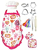 Cupcake Chef Set for Kids Cooking, Play Set with Apron for Girls,Chef Hat, and Other Accessories for Toddler,Career Role Play, Great Gift for Children Pretend Play, Size Medium 5-12 11 Pcs (Chef Set)