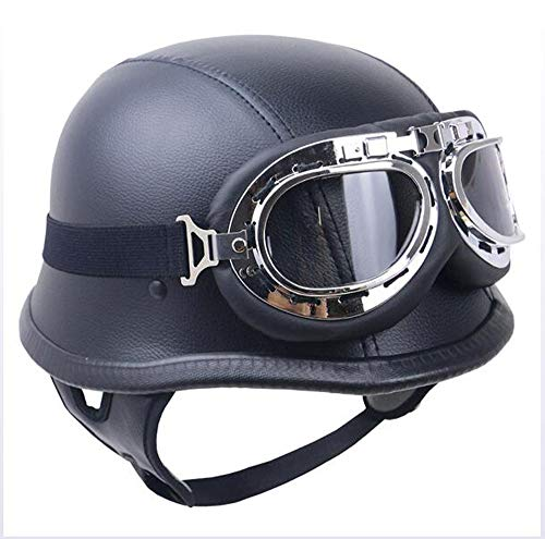 AA100 Motorcycle Open face Half Helmet Retro Helmet Harley Motorcycle Helmet PU Leather Goggles DOT Certification Approved Men and Women Open face Army (Mute Black),L59~60