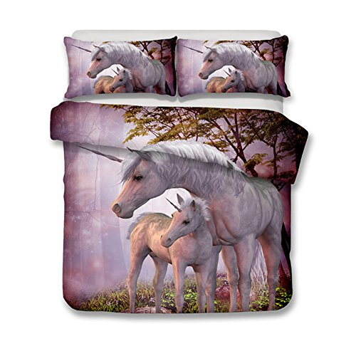 (alibalala 3D Two Unicorns Under The Tree Print Bedding Set Polyester Duvet Cover Set, 3 Pieces, Bed Sheet with 2 Pillow Cases)