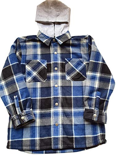 Freedom Foundry Youth Super Plush Flannel Shirt with Hood (Dark Blue, Small 7/8)