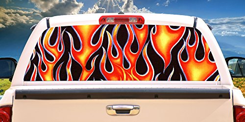 "Flames 16""x54"" Rear Window Graphic Compact Pickup Truck Back Decal View Thru Vinyl"