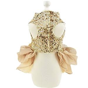 Biling Dog Dress Tutu Skirt Flower Dog Pet Cat Luxury Princess Wedding Dress Summer Dog Chihuahua Clothes (L, Gold)
