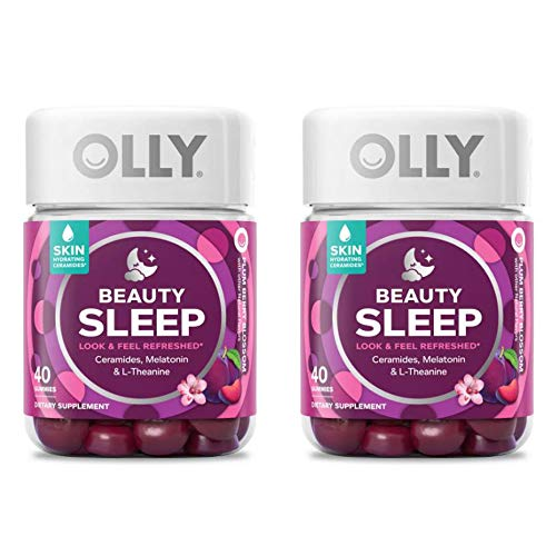 Olly Beauty Sleep Vitamins Gummy! 40 Gummies Berry Flavor! Formulated with Ceramides, Melatonin and L-Theanine! Look and Feel Refreshed! Choose from 1 Pack, 2 Pack or 3 Pack! (2 Pack)