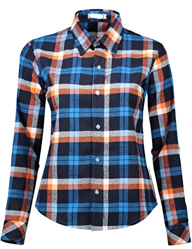 (DOKKIA Women's Casual Blouses Long Sleeve Plaid Checkered Button Down Flannel Shirts (Small, Blue Brown))