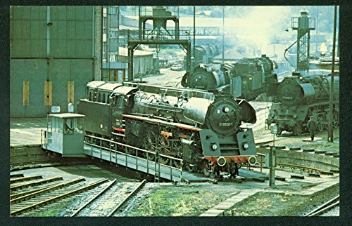 - German State Railways TURNTABLE Saalfield EAST GERMANY Train Railroad Postcard