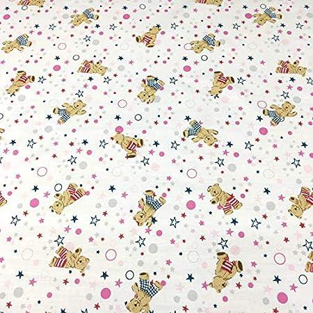 Tela por metros de sábana estampada - Algodón y poliéster - Ancho 270 cm - Confeccionar ropa de cama, decoración, manualidades | Ositos y estrellas, rosa: Amazon.es: Hogar