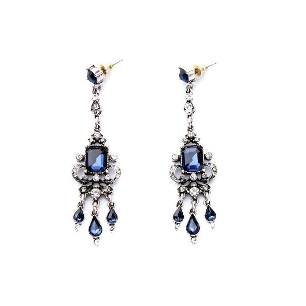 Art Deco Victorian Edwardian Antique Vintage Style Blue Sapphire Rhinestone Long Dangle Wedding Bridal Prom Earrings