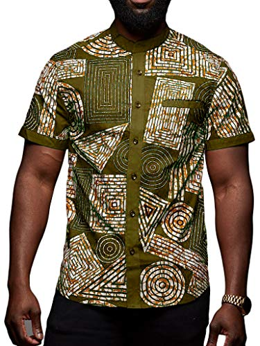 Taoliyuan Mens Dashiki Shirt African Print Short Sleeve Button Down Casual Graphic Printed Aloha Tops Green