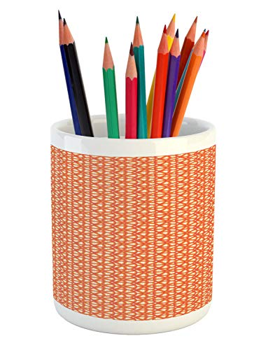 Ambesonne Abstract Pencil Pen Holder, Overlapping Citrus Grape Lemon Fruit Slices Vitamin Organic Food, Printed Ceramic Pencil Pen Holder for Desk Office Accessory, Vermilion Orange and White