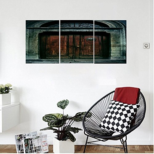 Liguo88 Custom canvas Gothic Decor Wall Hanging Photo of Antique Aged Wooden Door of a Dark Haunted Old House Gothic Style Night Theme Bedroom Living Room Decor Teal - 24h Cat For Sale