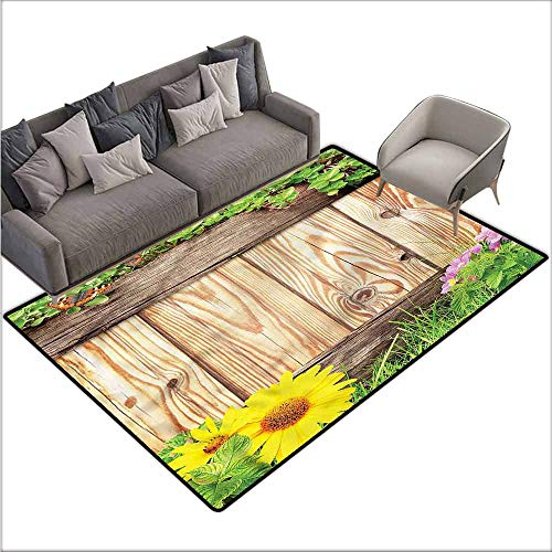 Anti-Slip Coffee Table Floor Mats Wooden,Garden Fence Butterfly 60