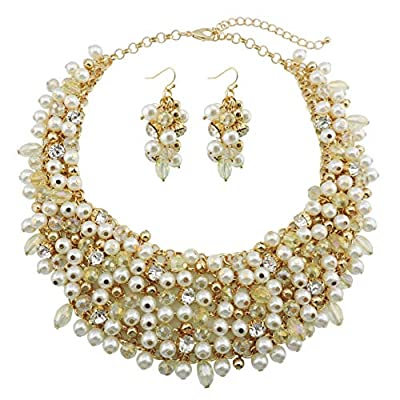Bocar Fashion Faux Pearl Crystal Chunky Collar Statement Necklace Earring Set for Women Gift