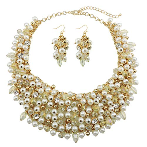 (Bocar Fashion Faux Pearl Crystal Chunky Collar Statement Necklace Earring Set for Women Gift (NK-10260-beige))