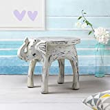 Wooden Side Table End Table Round Bedside Sofa Stool White Distressed Finish Elephant Head Design Home Kids Room Furniture Shabby Chic Decor - 18 x 13 x 14 inches