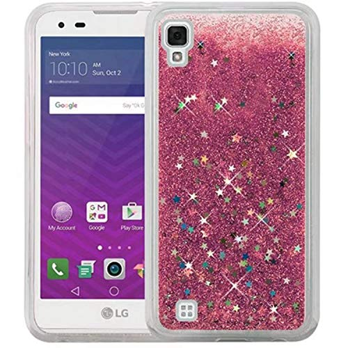 for LG LS676 X Style V20 V30 G6 LV3 STYLO 2 3 4 Phone Case Glitter Stars Dynamic Liquid Quicksand TPU Hard Back Cover Capa Shell,Pink,for LG LV3 US (Phone Cases Lg Vista Cowboy)