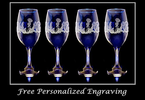Scottish Thistle Cobalt Blue Wine Glass Set of 4 - Free Shipping & Personalized Engraving (Send Wine In The Mail)