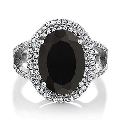 GemStoneKing 6.44 Carat 14X10MM Oval Natural Genuine Black Onyx Women's Ring Solid 925 Sterling Silver Cocktail Ring , Black and White , (SIZE 6)