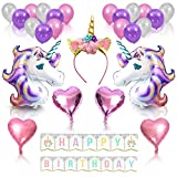 Unicorn Party Supplies and Decorations for Girl's Birthday Party | Unicorn Kit with Magical Balloons, Happy Birthday Banner and Gold Glitter Unicorn Headband Horn | Cute Accessories PartyParts