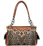 Montana West Concealed Carry, Boot Scroll Appliqué Satchel w/Side Pockets-Coffee