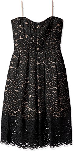 - Vera Wang Women's Bustier Green Lace Dress, Black, 14